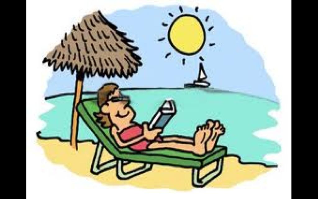 studying on beach