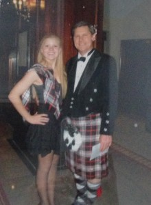The Mirrilees and his daughter, Emily, pictured at a Robert Burns Supper, hosted by the Chicago Celtic Society