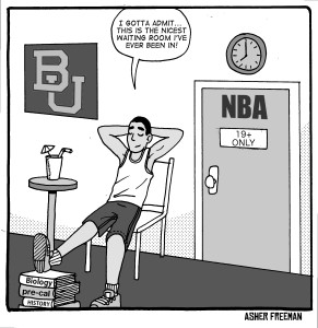 """A satirical look at one artist's portrayal of the """"one-and-done"""" system (picture credit Cornell Sports Business)"""