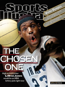 A Sport's Illustrated cover from LeBron James' high school career before he was chosen number one overall in the NBA Draft (picture credit Ball is Life)