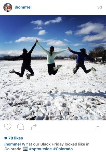 My sisters' Instagram depicting the Colorado Lifestyle #OptOutside