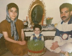 Maryam and her parents on the Persian New Year's Day.