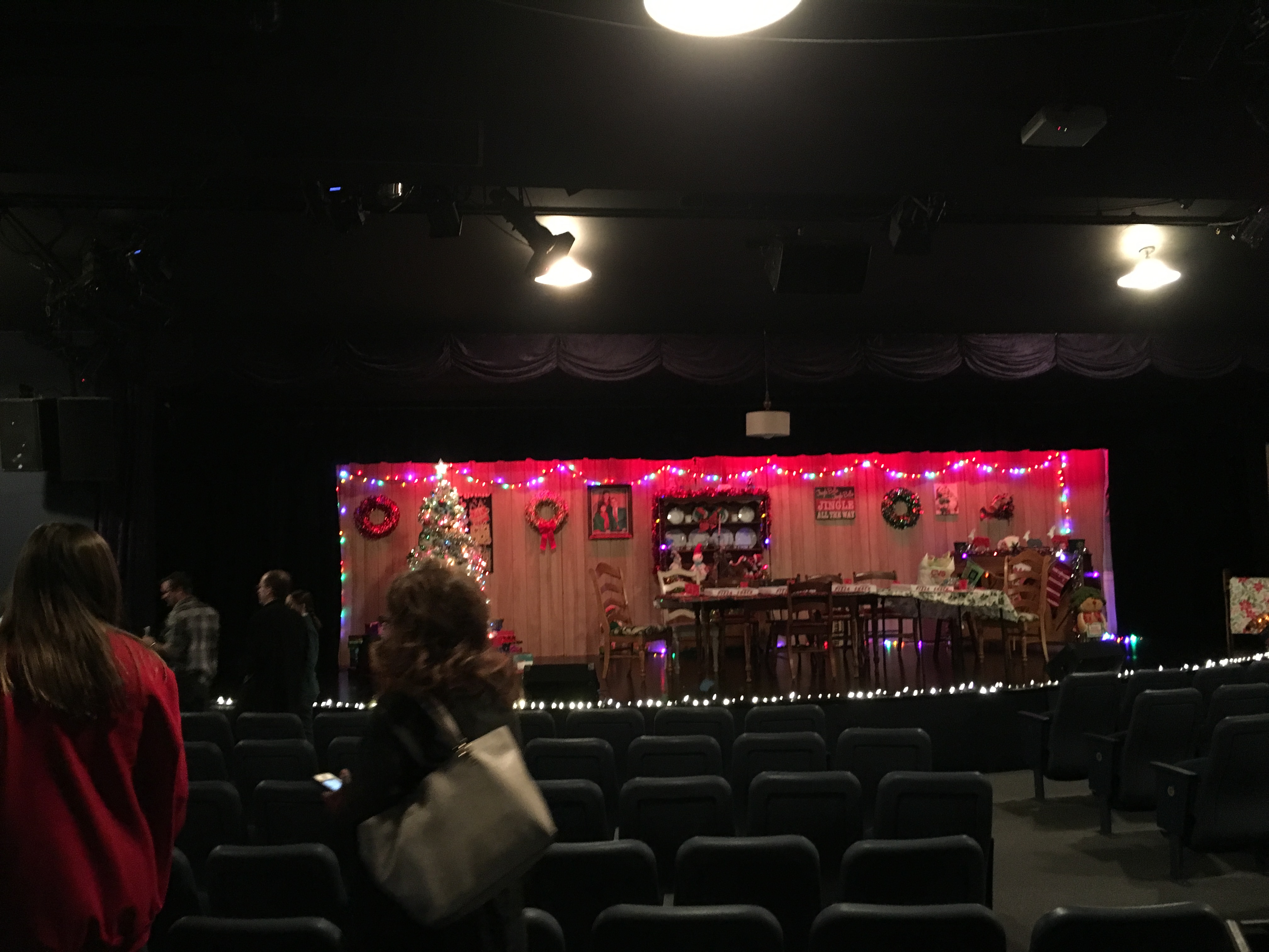 "The Blue Gate Theater's stage after the conclusion of ""Our Christmas Dinner"" (photo credit Anders Rotto)."