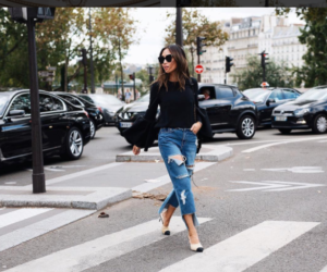 bell sleeve and frayed denim trend