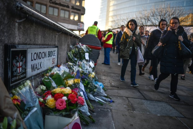 Tributes in honor of Jack Merritt and Saskia Jones, who were killed in a terror attack on 2 December 2019 in London.