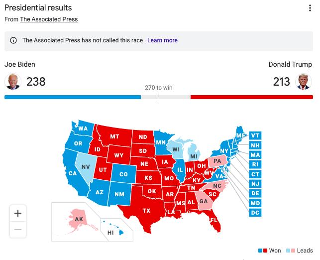 Current Electoral map 10:13AM CT 11/4